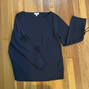 Dark gray blouse with tie sleeves